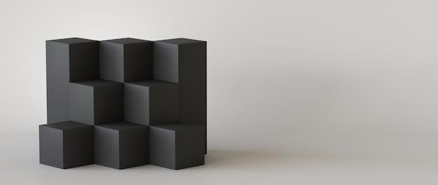 Boîtes de cube noir avec fond de mur blanc blanc. rendu 3d.