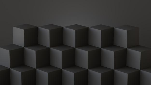 Boîtes de cube noir avec fond de mur foncé. rendu 3d.