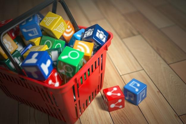 Boîtes d'icônes de logiciel d'application dans le panier. concept de magasin d'applications. illustration 3d