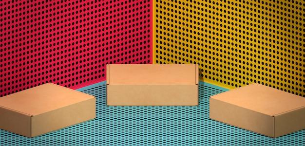 Boîtes marron en carton sur fond de bandes dessinées