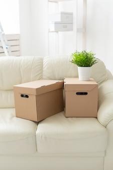 Des boîtes avec des objets et une fleur dans le pot se tiennent sur le canapé pendant le déménagement des résidents dans un nouveau