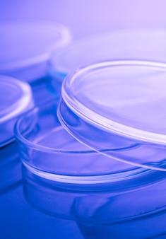 Boîtes de pétri en lumière bleue de laboratoire close up