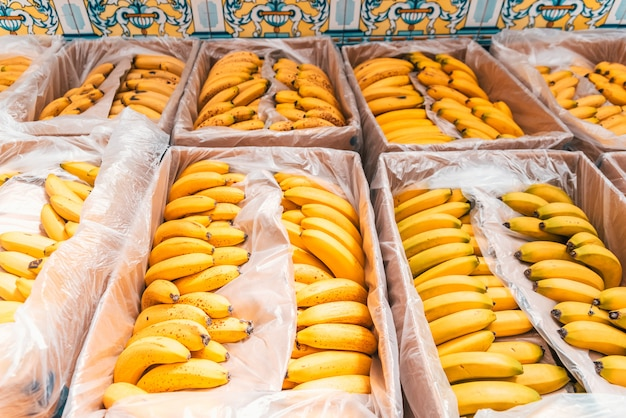 Boîtes pleines de bananes jaunes mûres