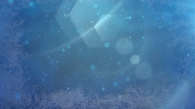 Bokeh bleu abstrait et chute de particules. bonne année et joyeux noël fond brillant. illustration 3d de style dynamique de luxe et élégante pour les vacances d'hiver