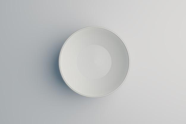 Bol blanc sur fond blanc, rendu d'illustration 3d