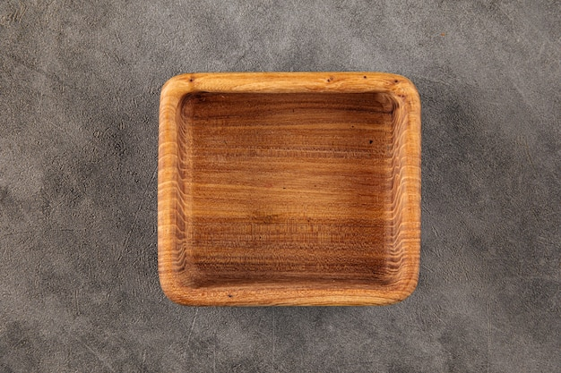 Bol en bois naturel vide marron carré