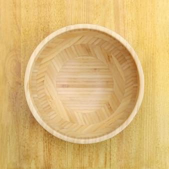 Bol en bois vide bouchent à plat