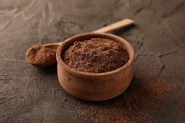 Bol, cacao, poudre, cuillère, brun, closeup
