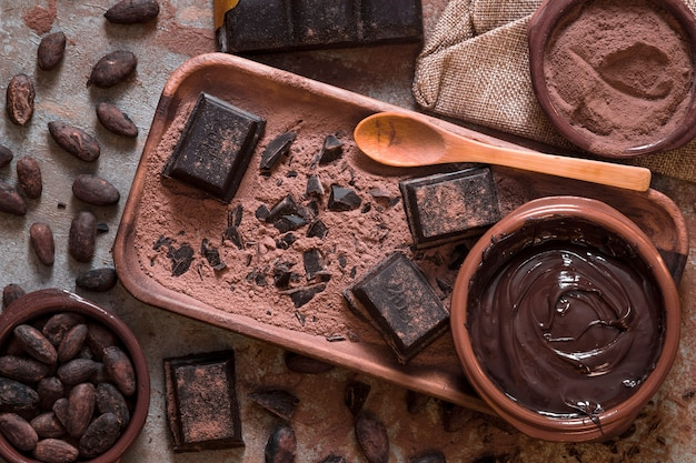 Bol de chocolat fondu et morceaux avec des fèves de cacao et de la poudre