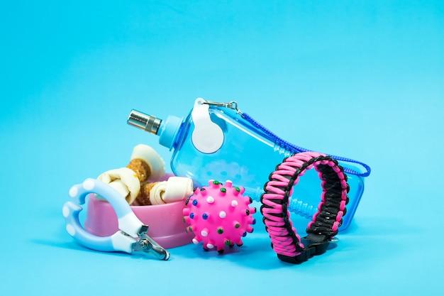 Bol avec des collations, des colliers, des jouets, des ciseaux à ongles et des bouteilles d'eau sur fond bleu