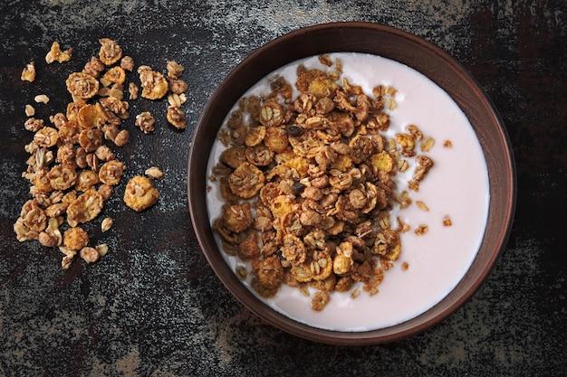 Bol de petit-déjeuner sain avec du yaourt frais et du granola. probiotiques et produits laitiers fermentés. petit déjeuner avec probiotiques.