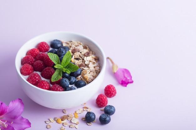 Bol de smoothie avec du yaourt, des baies fraîches et des céréales