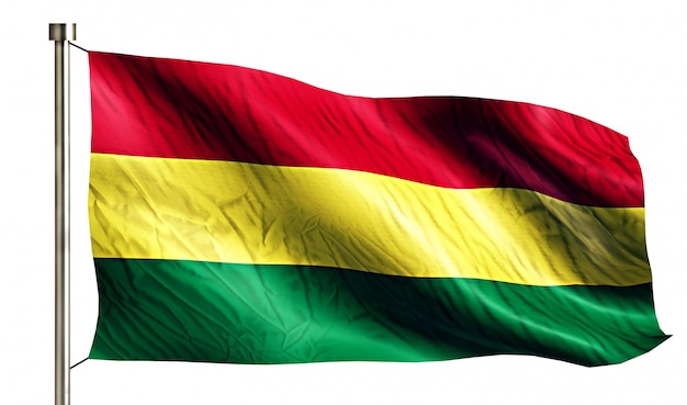 Bolivie drapeau national isolé fond blanc 3d