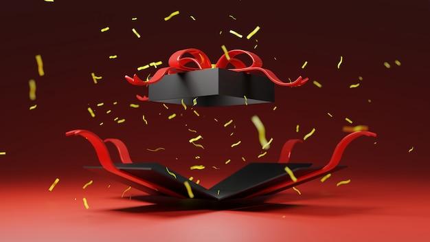 Bombe de boîte cadeau noire de rendu 3d avec ruban d'or, vendredi noir, noël, bonne année. joyeux anniversaire, le lendemain de noël