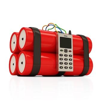 Bombe dynamite avec téléphone portable isolé sur blanc