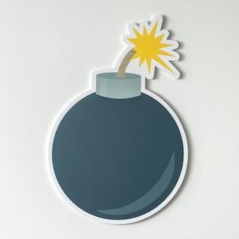 Bombe explosive avec icône mèche brûlante