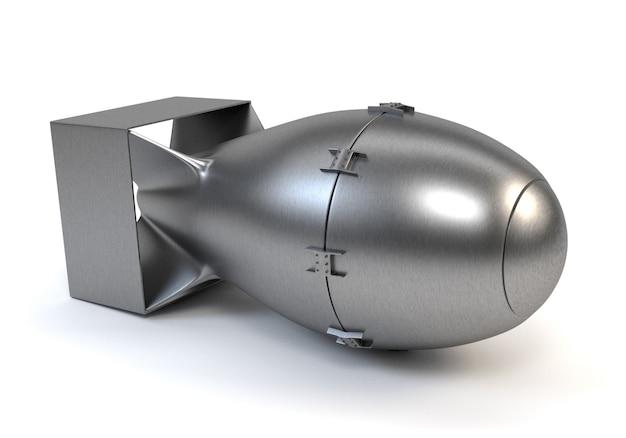 Bombe nucléaire grise isolée sur fond blanc.
