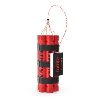 Bombe rouge dynamite tnt avec une minuterie isolée sur un blanc.
