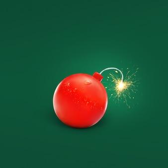 Bombe de tomate rouge avec une mèche et des étincelles sur fond vert, idée créative. tomate et ketchup explosifs, concept