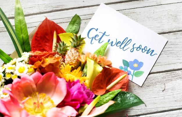 Bon rétablissement, message avec bouquet