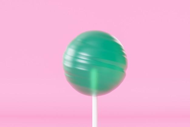 Bonbon sucette verte sur bâton