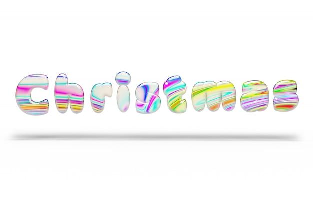 Bonbons bonbons multicolores mot de noël sur blanc isolé