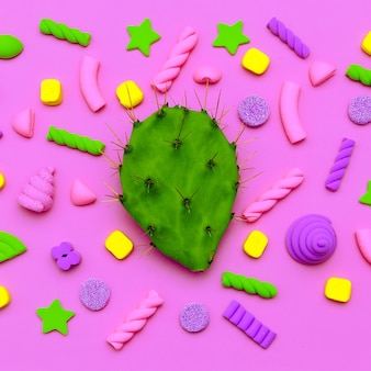 Bonbons cactus art. joli coeur. flatlay mode minimal