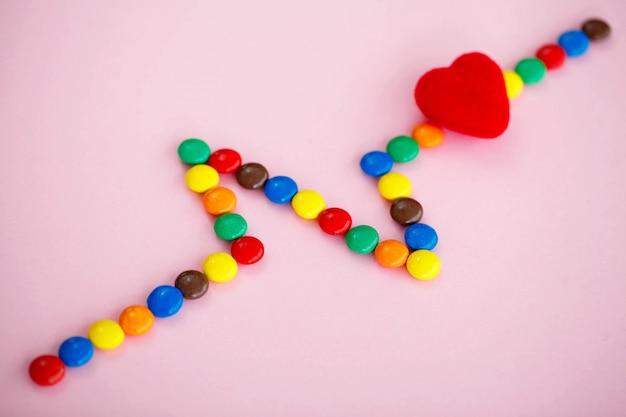 Bonbons colorés en forme de cardiogramme