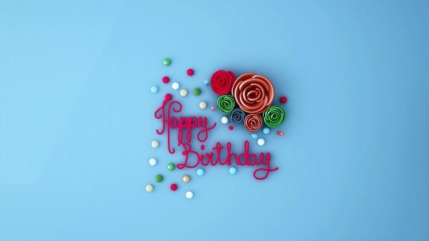 Bonbons colorés et sucre rose sur bleu clair - bonbons sucrés pour un anniversaire