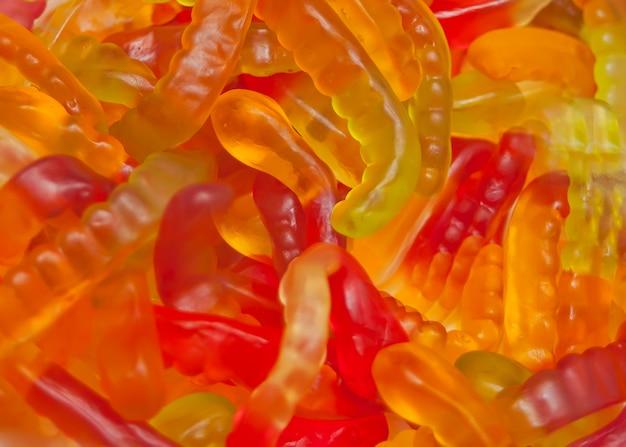 Bonbons colorés vers de gelée. texture de bonbons
