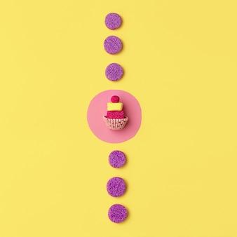 Bonbons et gâteaux. art plat minimaliste. douce humeur