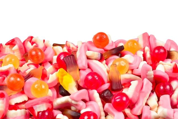 Bonbons gélifiés assortis. vue de dessus. bonbons à la gelée.