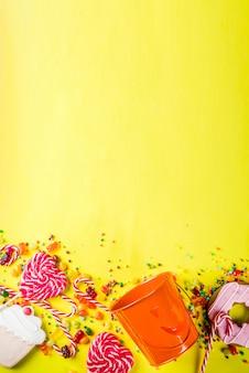 Bonbons d'halloween sur jaune
