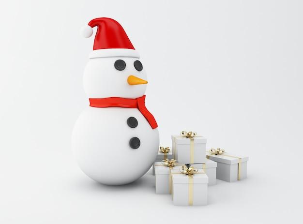 Bonhomme de neige 3d avec des cadeaux de noël.