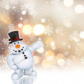 Bonhomme de neige 3d sur un noël doré