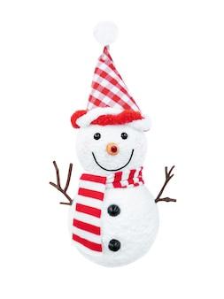 Bonhomme de neige au chapeau rouge et écharpe isolé sur fond blanc