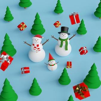 Bonhomme de neige dans la forêt de pins avec des cadeaux de noël