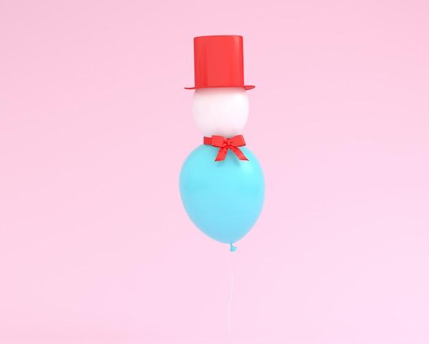 Bonhomme de neige fait de ballons flottant sur fond de couleur rose.
