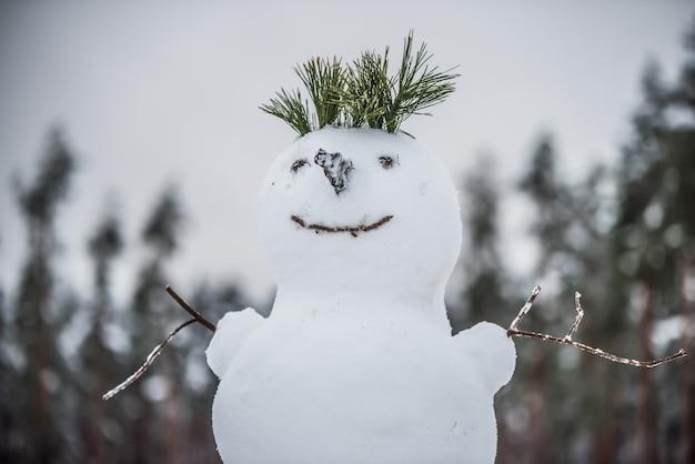 Bonhomme de neige heureux faisant une première neige de bonhomme de neige