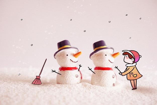 Bonhomme de neige: illustration de photographie créative mélangée