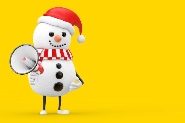 Bonhomme de neige en mascotte de personnage de chapeau de père noël avec mégaphone rétro rouge sur fond jaune. rendu 3d