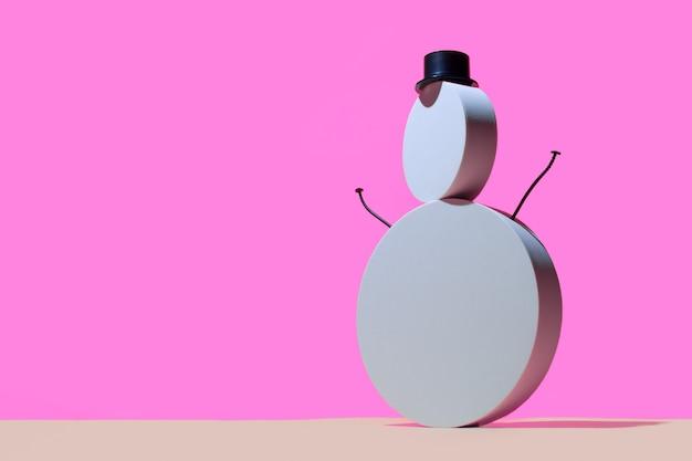 Bonhomme de neige de podiums blancs ronds et un cylindre de chapeau
