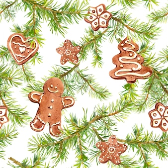 Bonhomme en pain d'épice, biscuits et branches de sapin. modèle sans couture pour la conception de noël. aquarelle