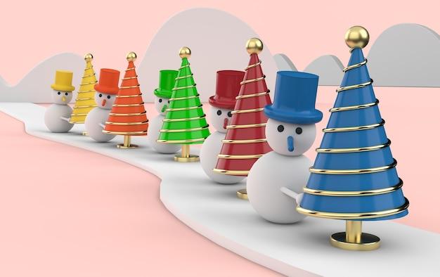 Bonhommes de neige avec des arbres de noël