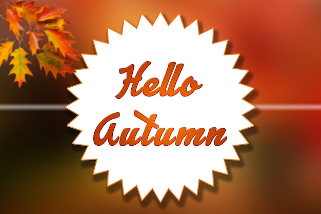 Bonjour automne illustration de fond de couleurs orange et jaune