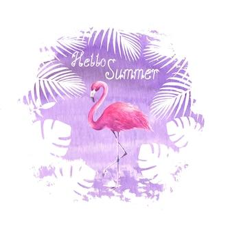 Bonjour été lettrage affiche violet flamant rose illustration de tache aquarelle dessinés à la main
