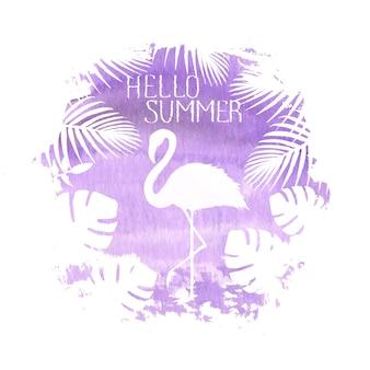 Bonjour été lettrage flamingo violet affiche bannière illustration de tache aquarelle dessinée à la main. silhouette de flamant rose, plantes exotiques tropicales. conception de vacances d'été de concept pour l'affiche, la carte, l'invitation