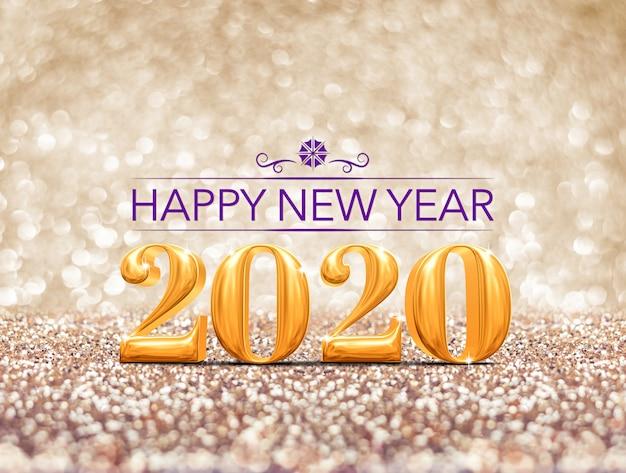 Bonne année 2020 année or à paillettes d'or scintillant