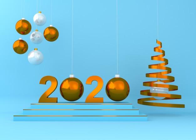 Bonne année 2020 creative background illustration de rendu 3d.