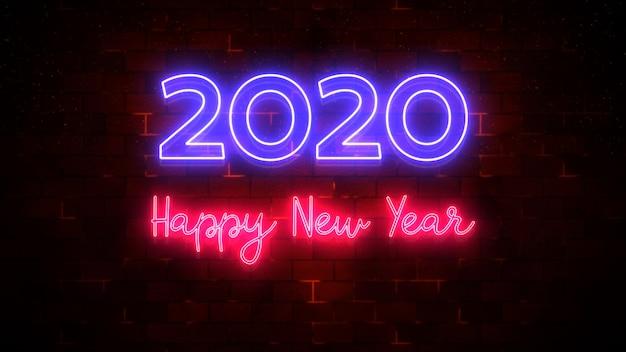 Bonne année 2020 néon et flux de particules, concept de nouvel an en arrière-plan, rendu 3d